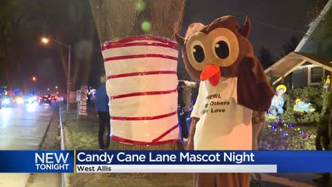 Local mascots join holiday fun at Candy Cane Lane